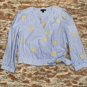 J. Crew Pineapple Embroidered Top! NWOT Size Small